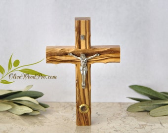 Olive wood cross with holy land soil, from holy land with certification 12 cm