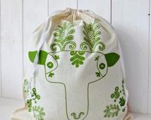 Organic Cotton Gift Bag Bread Bag Screen printed Hungarian Skandinavian Kalotaszeg Girl Deer Folk Pattern - Green
