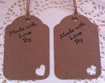 20 Hand-Stamped 'Made With Love By ....' Quality Kraft Card Tags With Heart