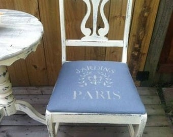 white shabby chic antique chair