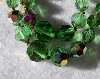 Vintage Crystal Necklace Green Aurora Borealis Crystal Double Strand Necklace