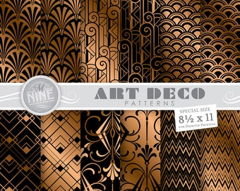 "ART DECO Black & Bronze Digital Paper Pack 8 1/2"" x 11"" Pattern Prints, Instant Download, Retro Patterns Backgrounds Print"