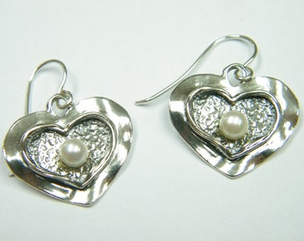 Sterling Silver Double Texture Heart Earrings With Pearl