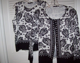Pierri of NY sweater set. , black and whte XL perfect resort, cruise.Lt weight
