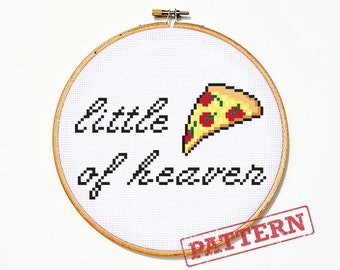 Little Slice of Heaven Pizza Cross Stitch Pattern