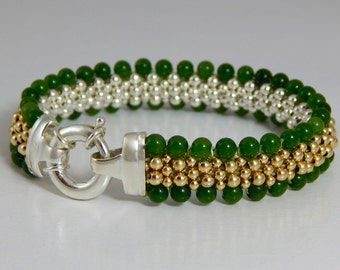 Grand Jade  - Jade, Sterling Silver,14K Gold Beaded Reversible Bracelet