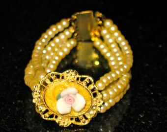 Vintage Rose and 4 strand Pearl Gold Sterling Bracelet 6 inch