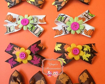 Pair of Thanksgiving Bows - Fall Bow, Pumpkin Bow, Fall Leaves Bow, Maple Leaves