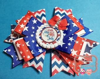 4th of July Bow, 4th of July Hair Bow, Little Miss 4th of July