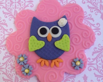"4"" Owl Fondant Cake Topper and Cupcake Toppers"