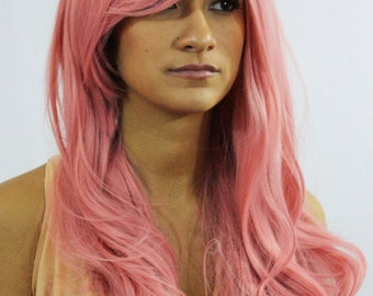 Dusty pink long wavy wig  cosplay wig - ready to ship