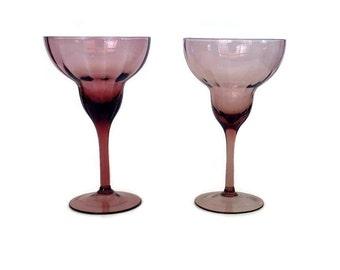 Amethyst Purple Margarita Glasses, Hand Blown, S/2