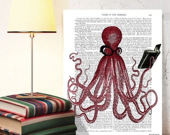 Book Octopus - Book Nerd Gift for Bookworm gift for book lover gift Cool kid gift geekery wall décor gift nerdy artwork gift for geek gift