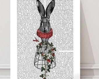 Strawberry Hare - woodland nursery decor woodland art print hare print hare art print woodland fairy rabbit art print Whimsical Animal art