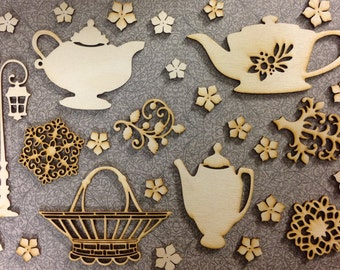 Afternoon Tea Lasered Wood Craft Embellishments
