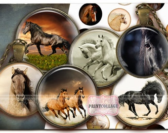 Horse Animal images Digital Collage Sheet Cabochon images 1.5 inch 18mm 14mm 1inch circle Printable images Instant download bottle caps c157