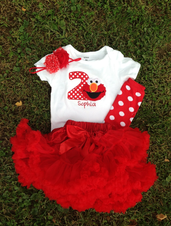 Red Elmo birthday outfit 1st 2nd birthday elmo shirt custom