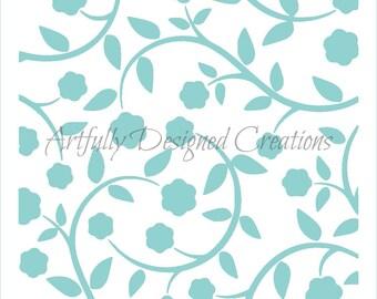 Flowers & Vines Background Stencil