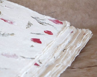 Half sheets Himalayan Bhonswaa paper, natural textured paper, Indian handmade paper, pink petals & green fern fronds