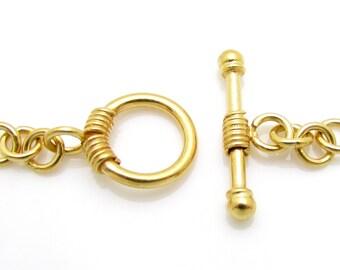 1 Set, 10mm, 24k Gold Vermeil Toggle