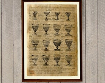 Dining room decor Kitchen print Wine glass poster WA48