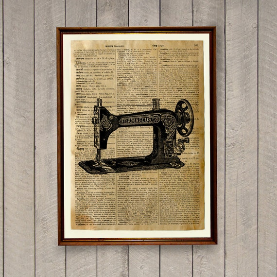 Sewing machine poster Vintage decor Antique print WA482