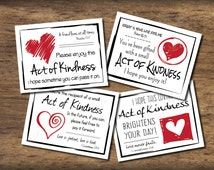 Love Random Act of Kindness cards. Instant download. Pdf printable. DIY digital print. Pay it forward. Small acts. Gift with Bible verses.