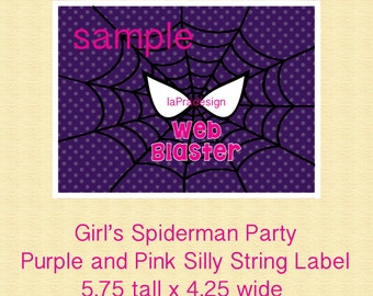 GIRL Spiderman Birthday Web Shooter Label for Silly String, Pink Spiderman Party-YOU PRINT
