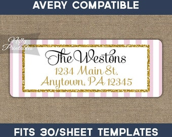 Printable Address Labels - Pink & Gold Glitter Return Address Label - Avery Compatible - DIY Elegant Address - Baby Bridal Shower Decor PGL