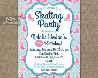 Ice Skating Party Invitations - Ice Skating Birthday Invites - ANY AGE - 4th 5th 6th 7th 8th 9th Ice Skate Birthday