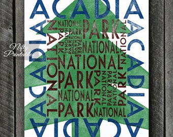 Acadia National Park Art Print - Printable National Park Art - Vintage Acadia National Park Poster - Acadia NP Typography - INSTANT DOWNLOAD
