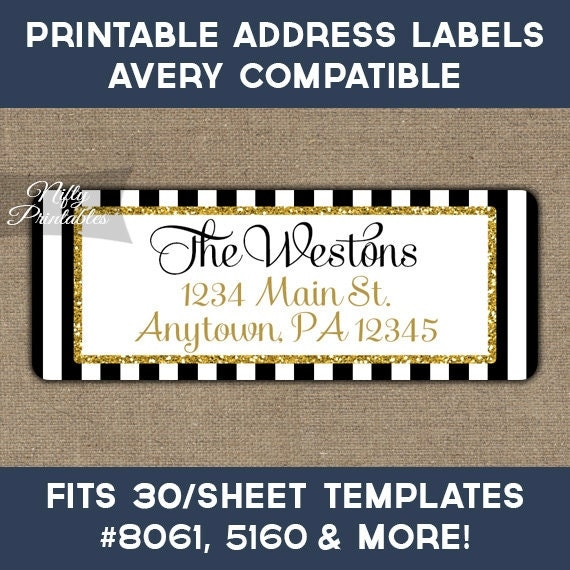 Printable Address Labels Black & Gold Glitter Return Address
