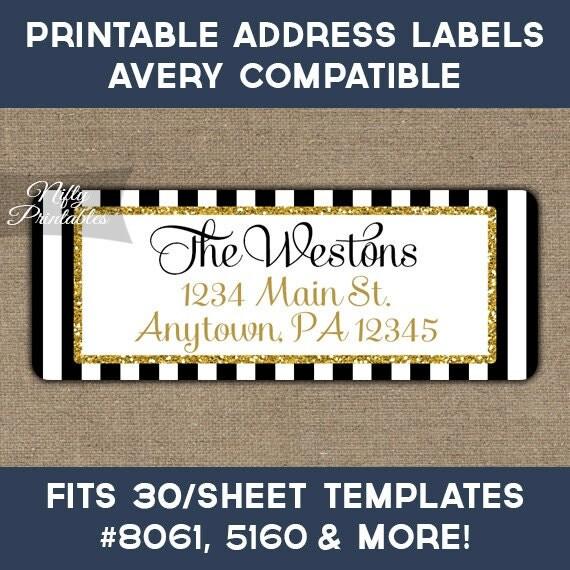 Printable Address Labels Black & Gold Glitter Return Address