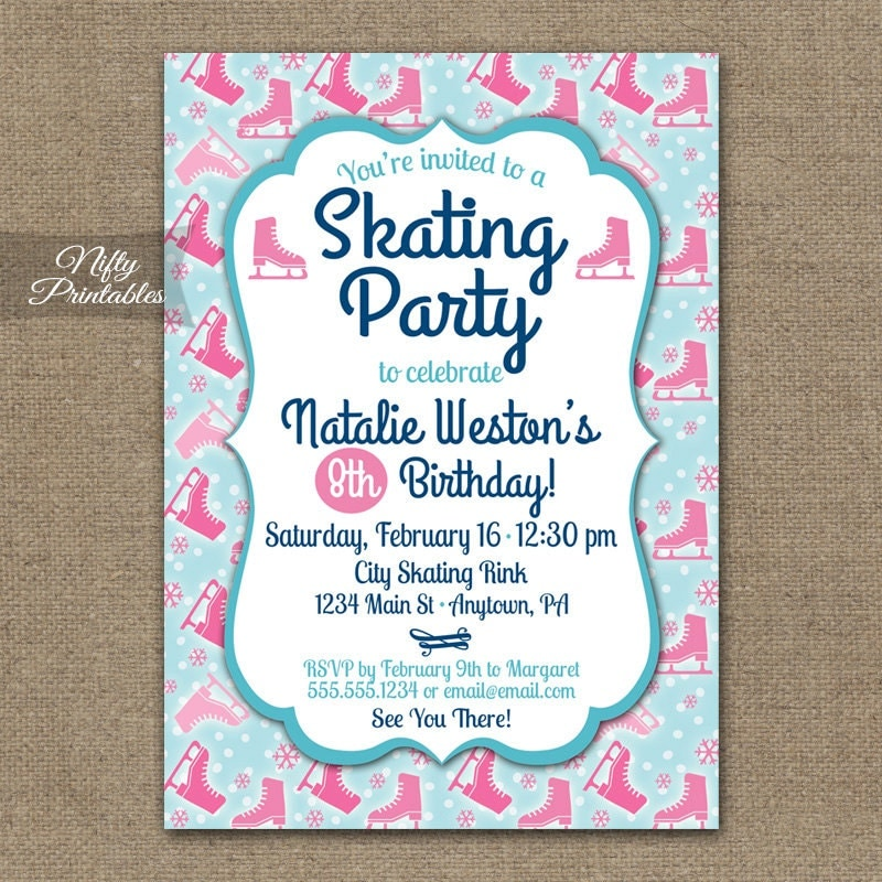 Ice Skating Party Invitations Ice Skating Birthday Invites