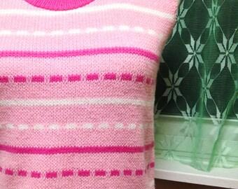 Pink Striped Sweater Vest