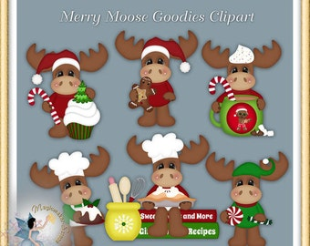 Merry Moose Christmas Goodies Clipart