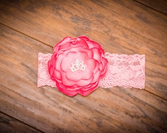 Layered Pink Satin Flower Headband