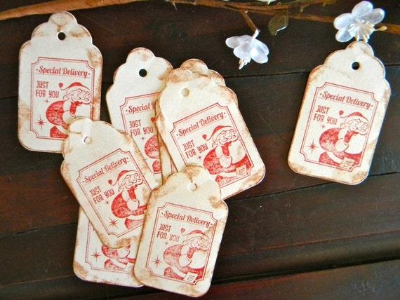 christmas gift tags set of 8 santa claus gift tags by