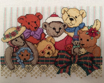 "Handmade unframed cross stitch ""Teddy Bears"""