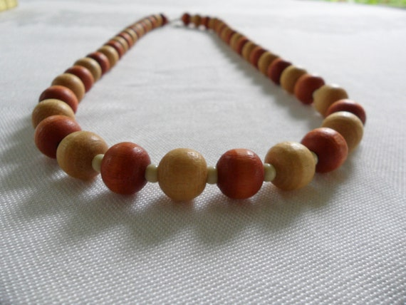 wooden bead necklace chunky two tone 70s hippie necklace