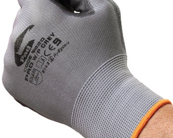 Grey Nitrile Work Gloves - Ideal for work, builders, electricians, plumbers, tradesman and DIY.