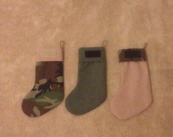 Christmas Stocking, Upcycled Uniform stockings