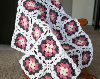 Crochet Granny Square Afghan/ Blanket/ Baby Blanket/ Throw Blanket