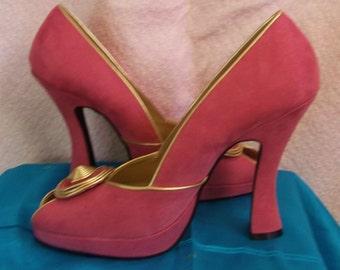 Fantabulously Lush Burlesque pink suede Cuban heel, designer label shoes.
