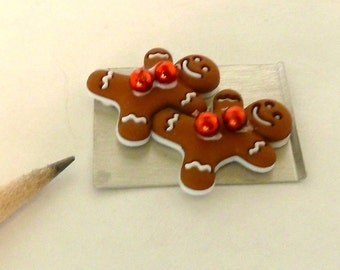 gingerbread men on a cookie sheet hot from the oven dollhouse miniature 1/12 scale.