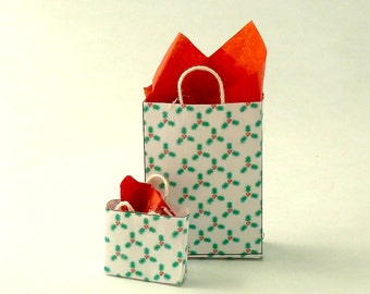 Christmas gift bags with holly dollhouse miniatures 1/12 scale