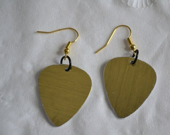 Golden Earrings, Hook Guitar Pick Earrings, Upcycle Earrings