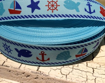 "3 yards 7/8"" NAUTICALWhale  Boat Anchor themed Grosgrain Ribbon Blue"