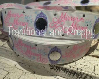 """7/8"""" PRINCESS Silver Foil Mirror Fairest of them all Grosgrain Ribbon sold by the yard"""