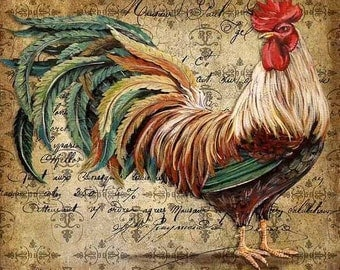 Vintage Rooster 1-Counted cross stitch pattern in PDF format